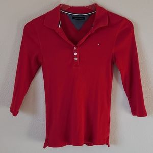 Tommy Hilfiger Classic Red Ribbed Fitted Top S